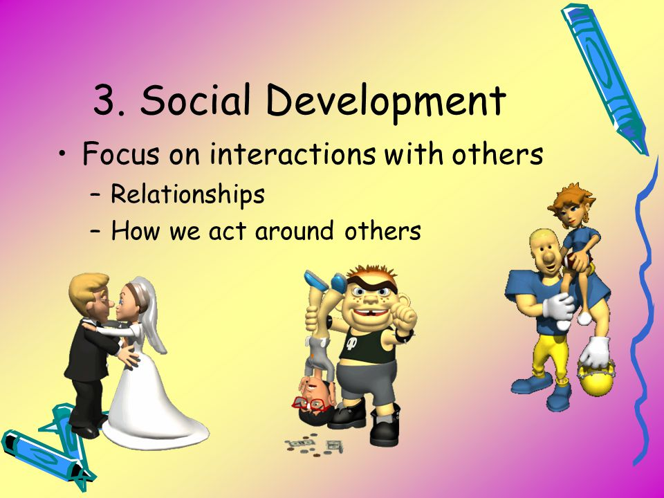 3. Social Development Focus on interactions with others Relationships
