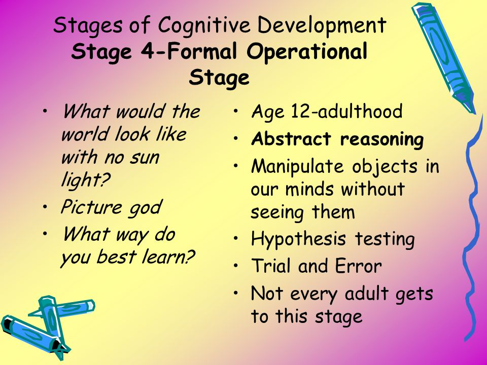 Stages of Cognitive Development Stage 4-Formal Operational Stage