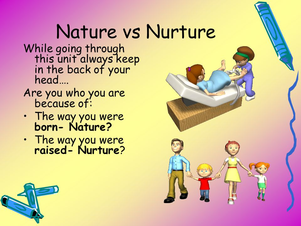 Nature vs Nurture While going through this unit always keep in the back of your head…. Are you who you are because of: