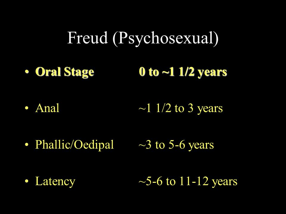 Freud (Psychosexual) Oral Stage 0 to ~1 1/2 years