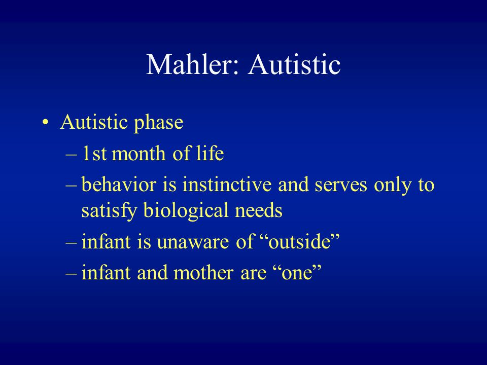Mahler: Autistic Autistic phase 1st month of life