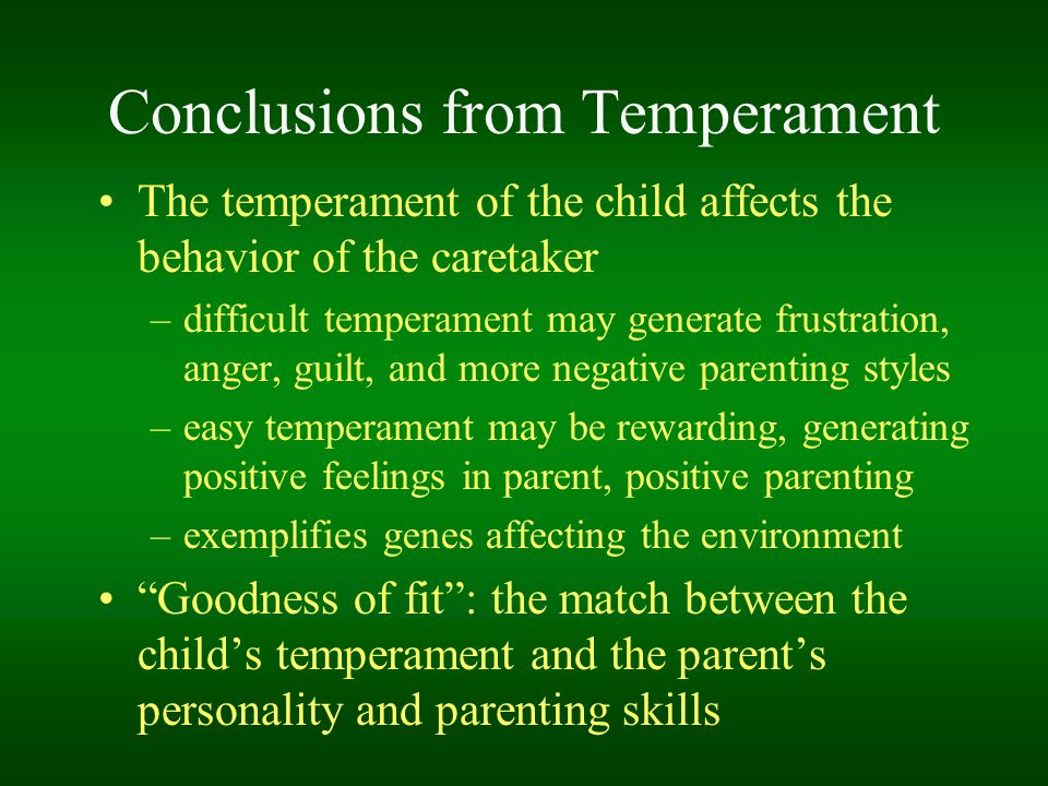 Conclusions from Temperament