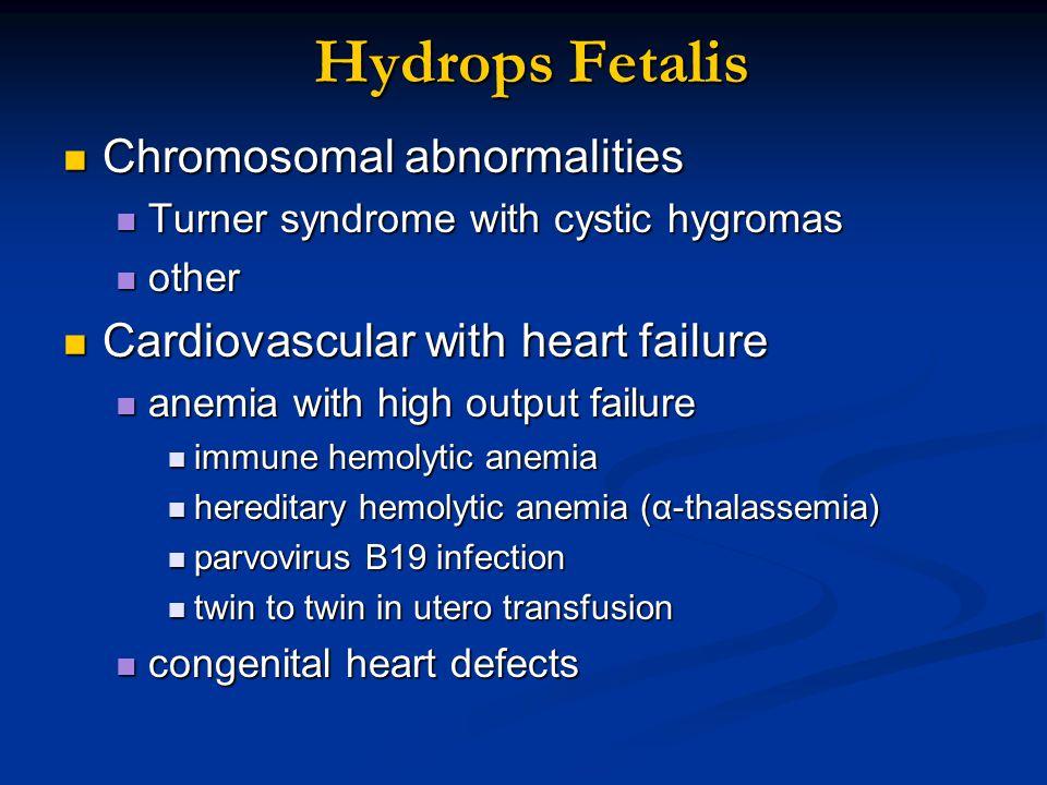 Hydrops Fetalis Chromosomal abnormalities