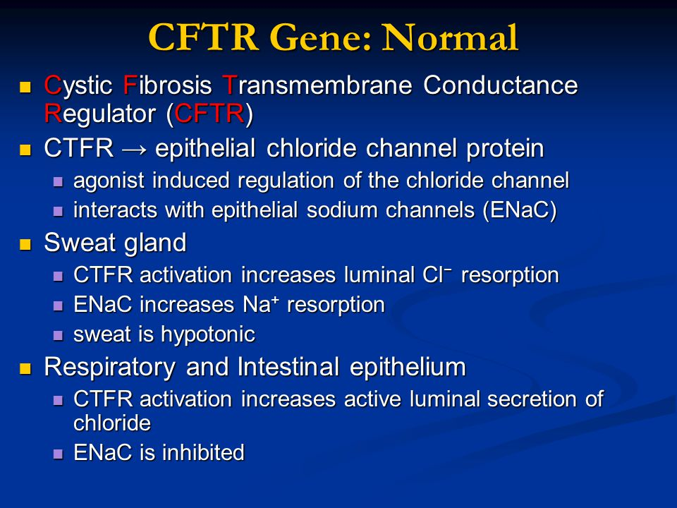 CFTR Gene: Normal Cystic Fibrosis Transmembrane Conductance Regulator (CFTR) CTFR → epithelial chloride channel protein.