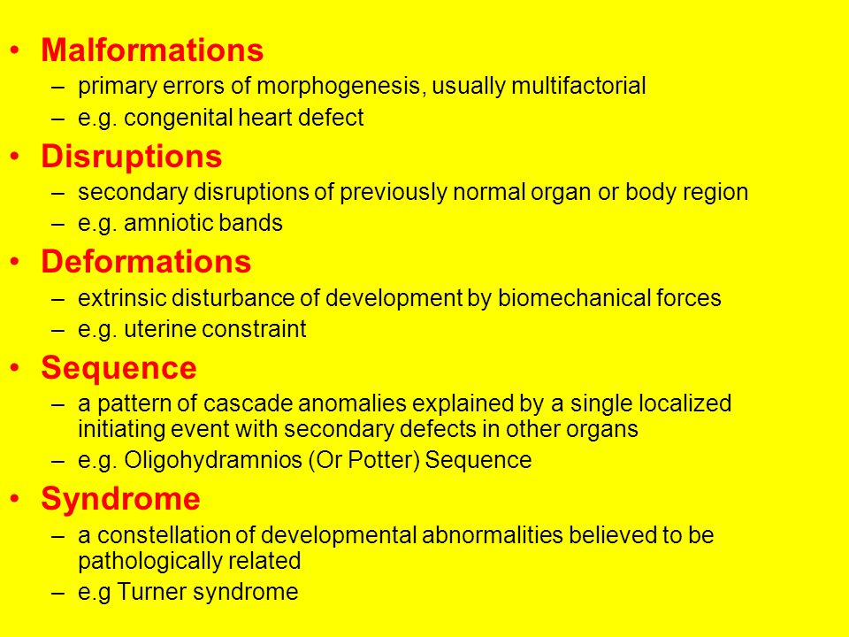 Malformations Disruptions Deformations Sequence Syndrome
