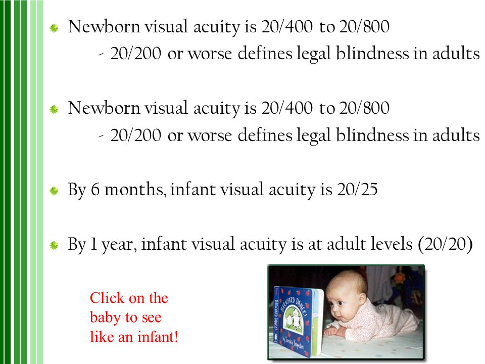 Newborn visual acuity is 20/400 to 20/800