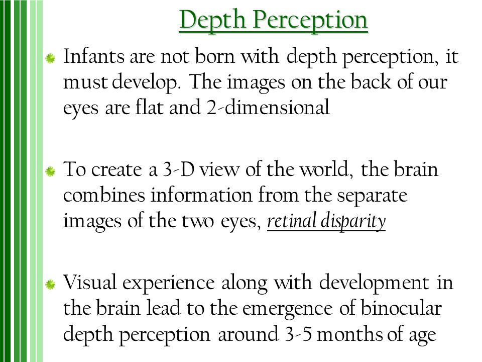 Depth Perception Infants are not born with depth perception, it must develop. The images on the back of our eyes are flat and 2-dimensional.