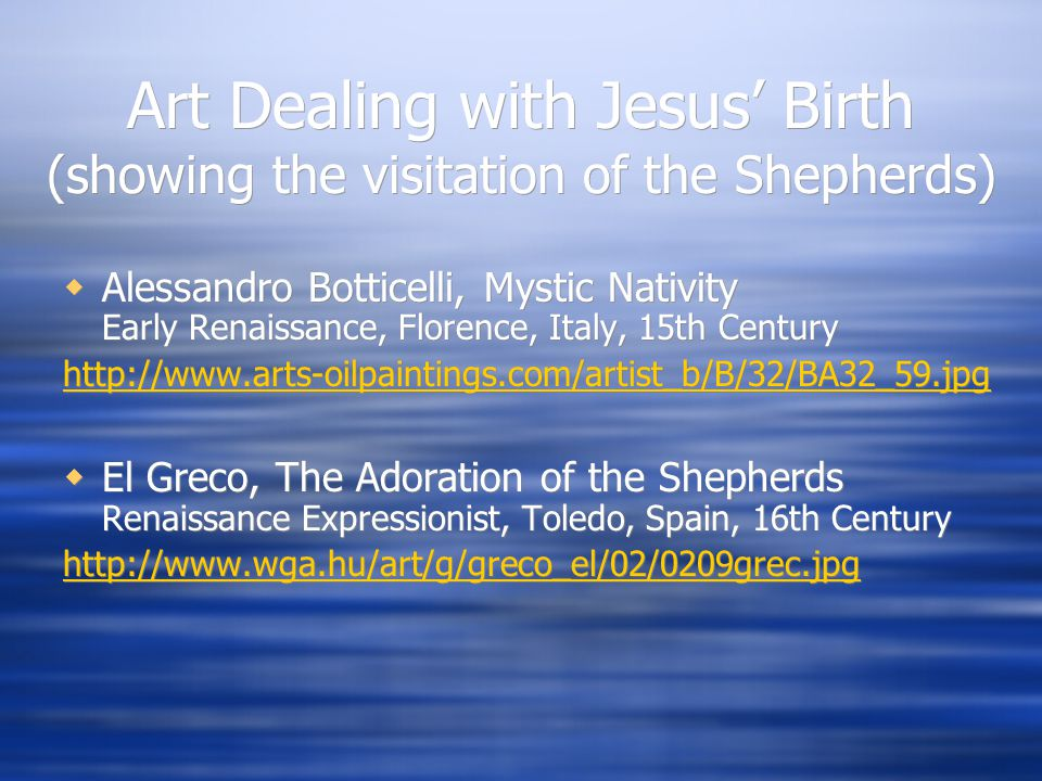 Art Dealing with Jesus' Birth (showing the visitation of the Shepherds)