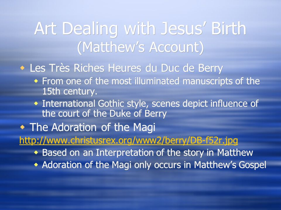 Art Dealing with Jesus' Birth (Matthew's Account)