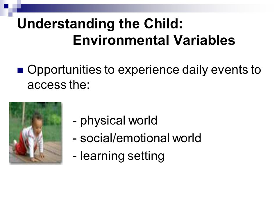 Understanding the Child: Environmental Variables