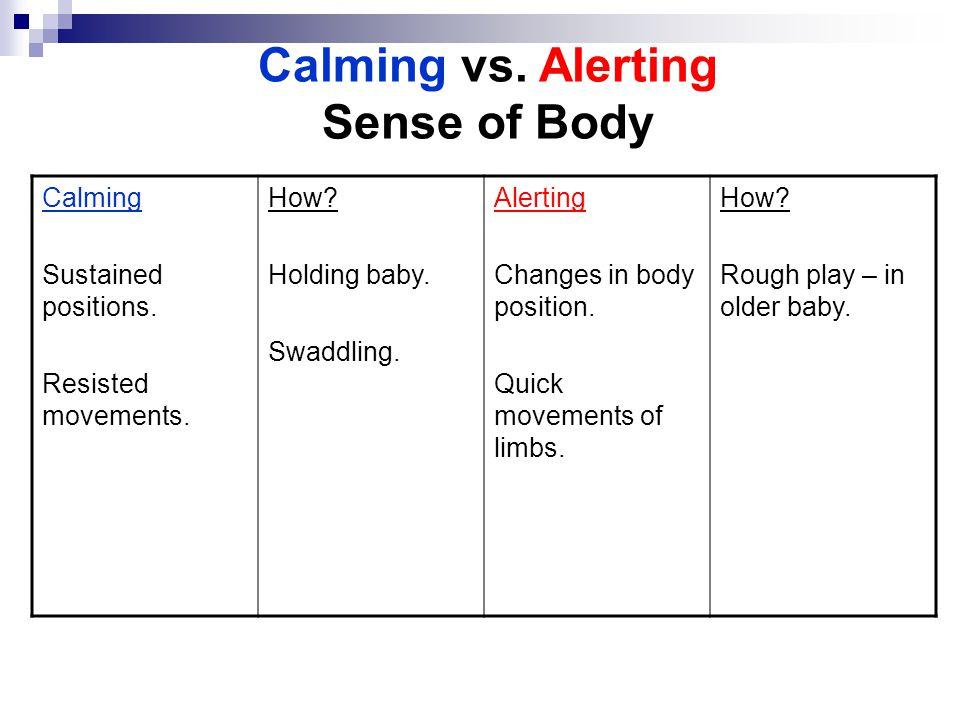 Calming vs. Alerting Sense of Body