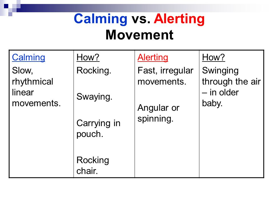 Calming vs. Alerting Movement