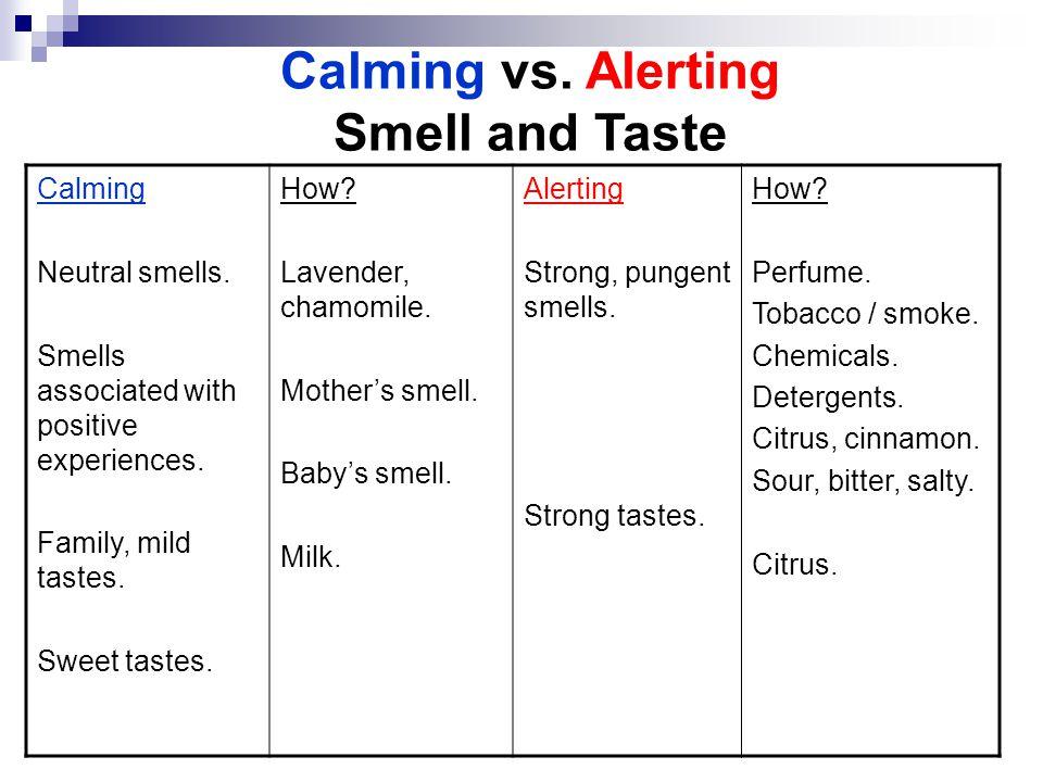 Calming vs. Alerting Smell and Taste