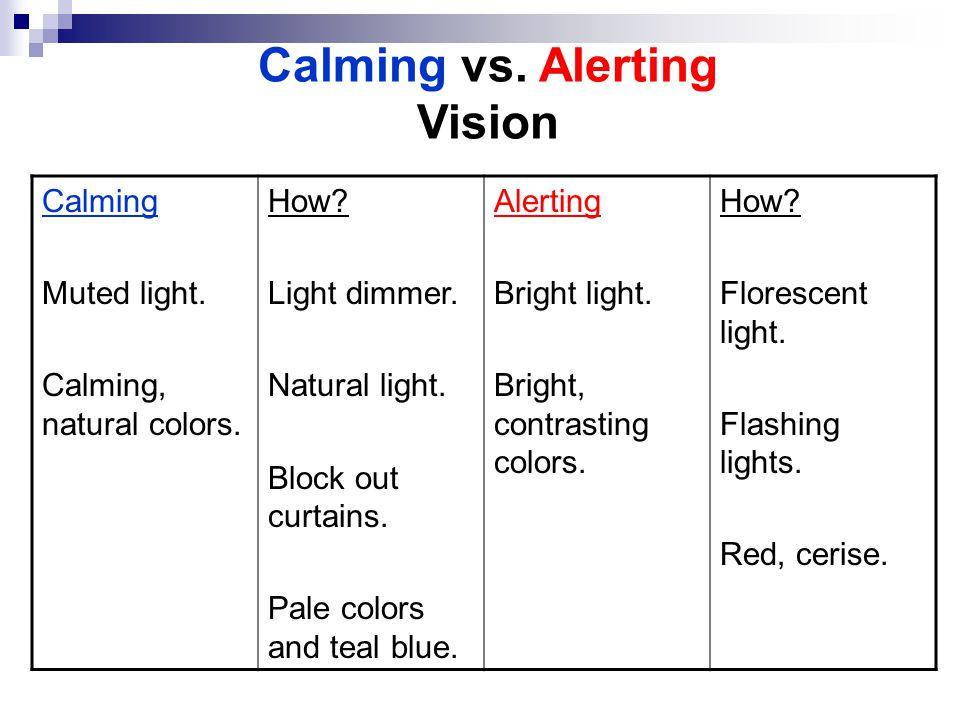 Calming vs. Alerting Vision