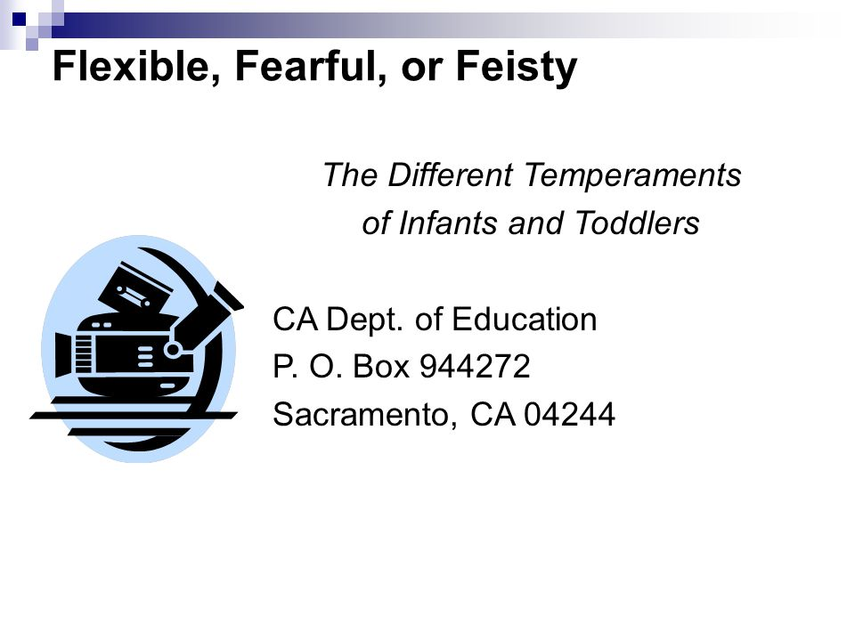 temperament flexible fearful and feisty Part 2: flexible, fearful, feisty the different temperaments of infants and toddlers - duration: 9:40 temperament - duration: 18:28.