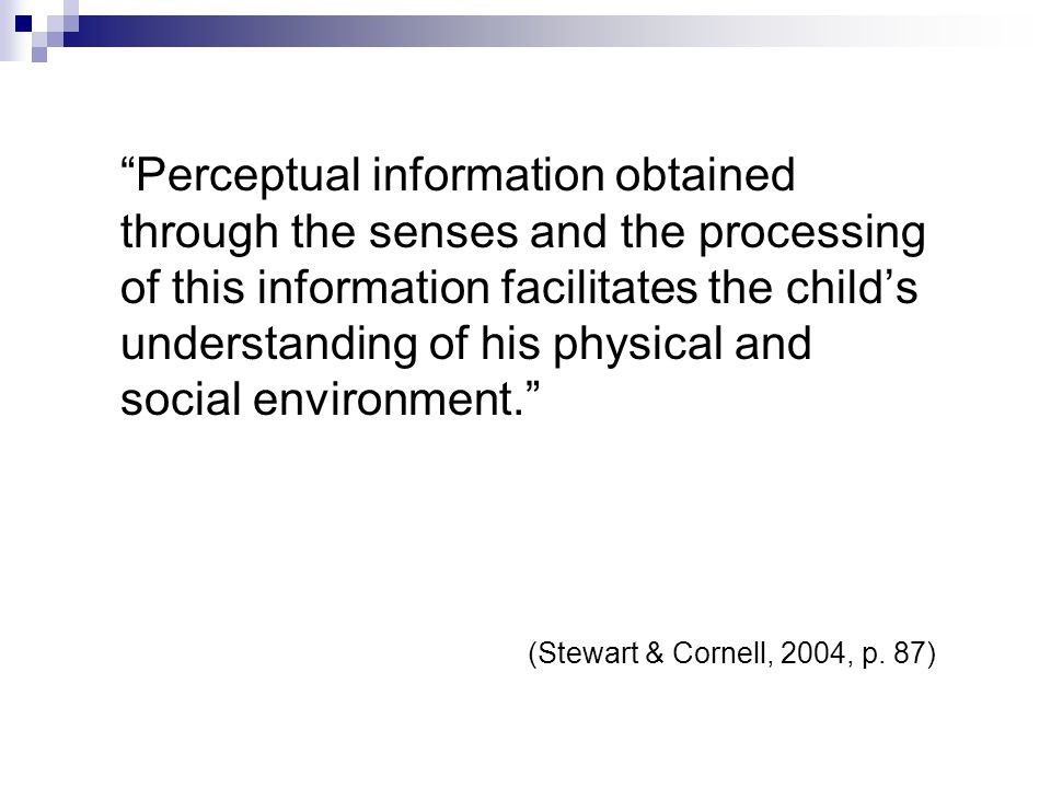 Perceptual information obtained through the senses and the processing of this information facilitates the child's understanding of his physical and social environment.