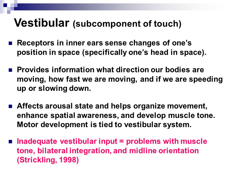 Vestibular (subcomponent of touch)