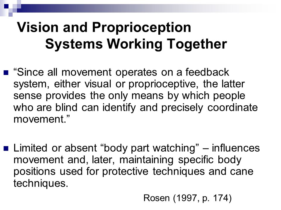 Vision and Proprioception Systems Working Together