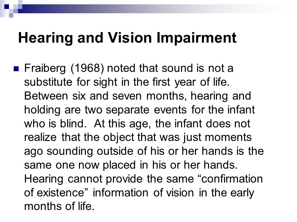 Hearing and Vision Impairment