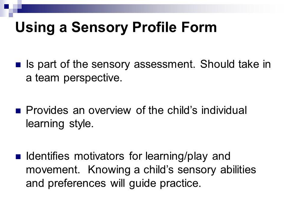 Using a Sensory Profile Form