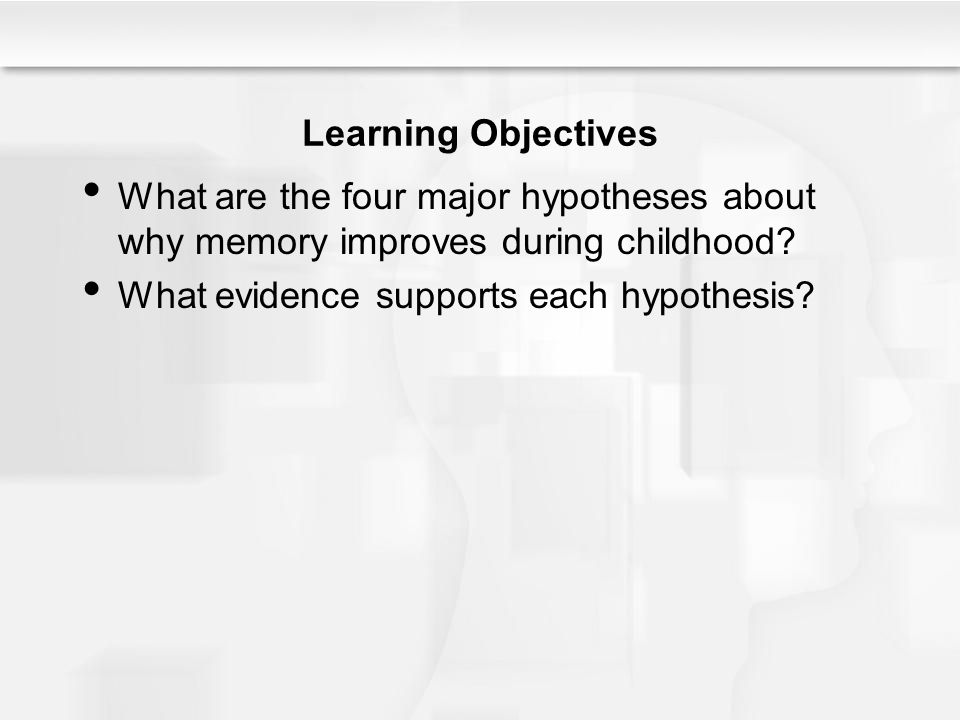 Learning Objectives What are the four major hypotheses about why memory improves during childhood.