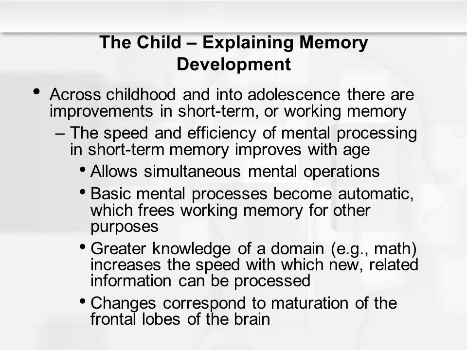 The Child – Explaining Memory Development