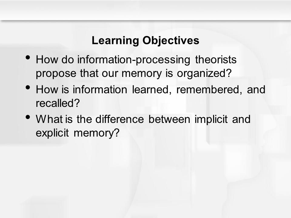 Learning Objectives How do information-processing theorists propose that our memory is organized