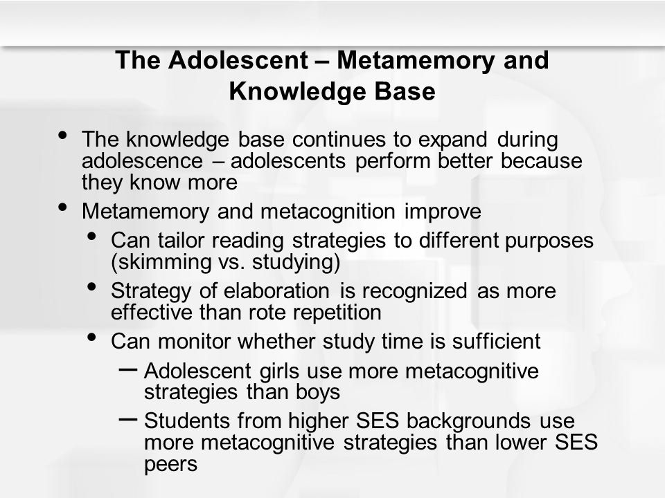 The Adolescent – Metamemory and Knowledge Base