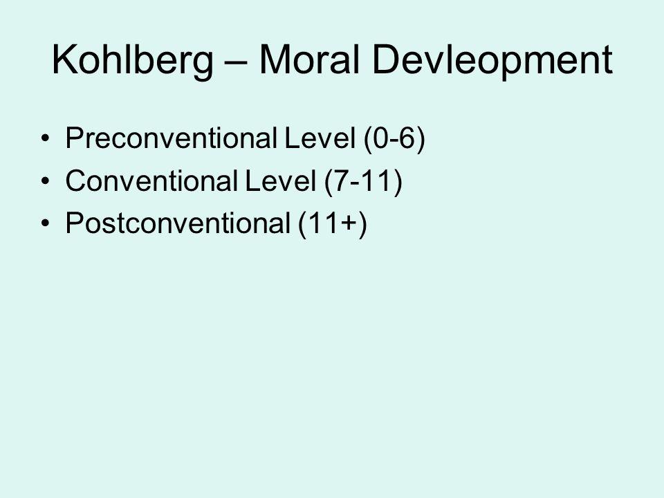 Kohlberg – Moral Devleopment