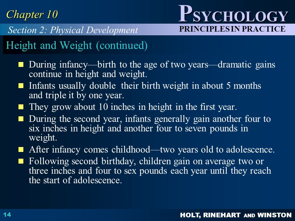Height and Weight (continued)