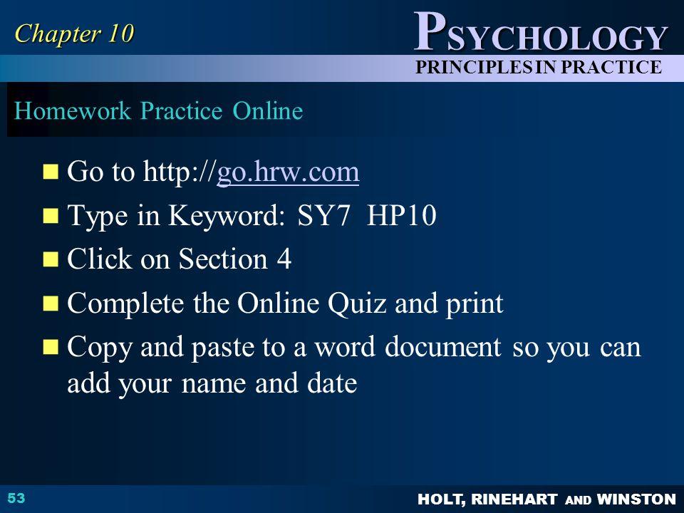 Homework Practice Online