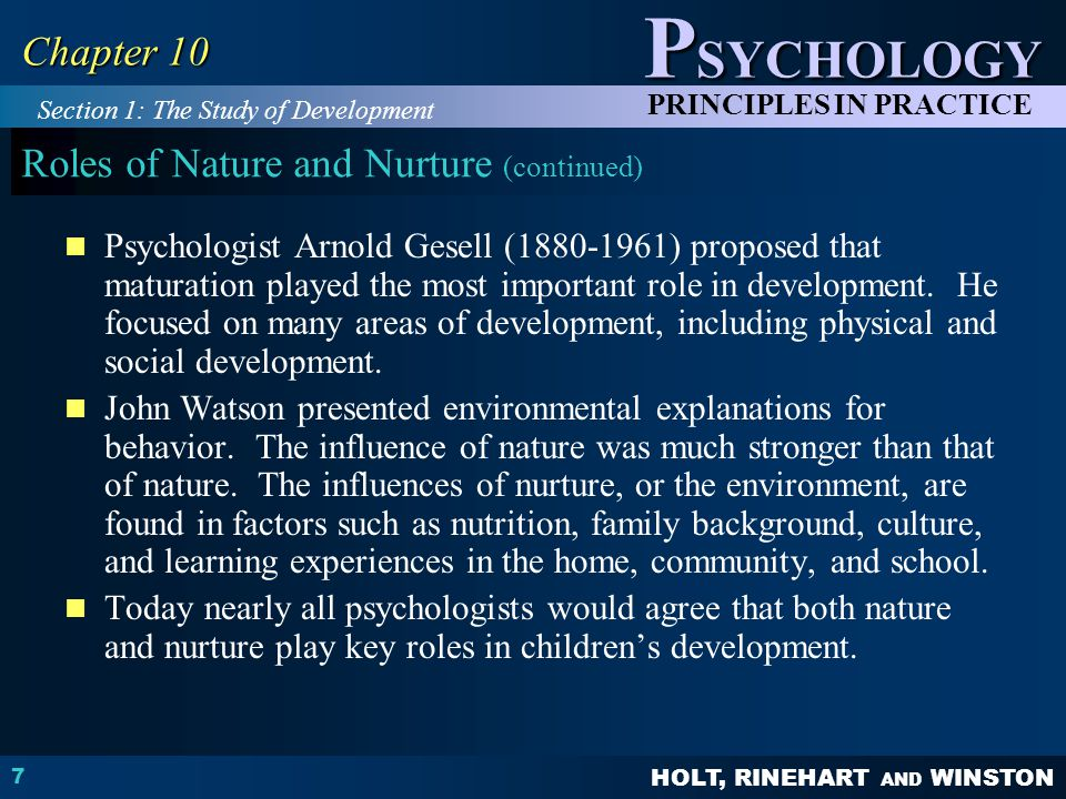 Roles of Nature and Nurture (continued)