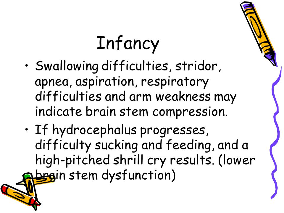 Infancy Swallowing difficulties, stridor, apnea, aspiration, respiratory difficulties and arm weakness may indicate brain stem compression.