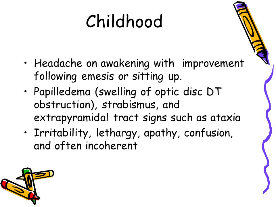 Childhood Headache on awakening with improvement following emesis or sitting up.