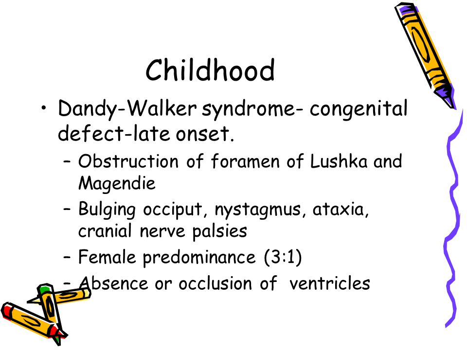 Childhood Dandy-Walker syndrome- congenital defect-late onset.
