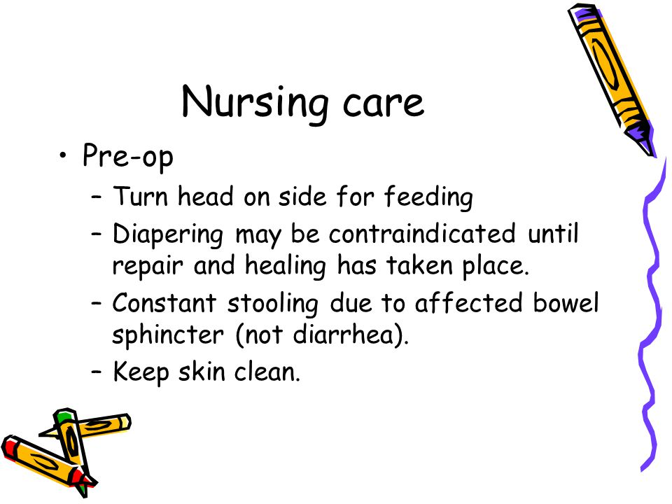 Nursing care Pre-op Turn head on side for feeding