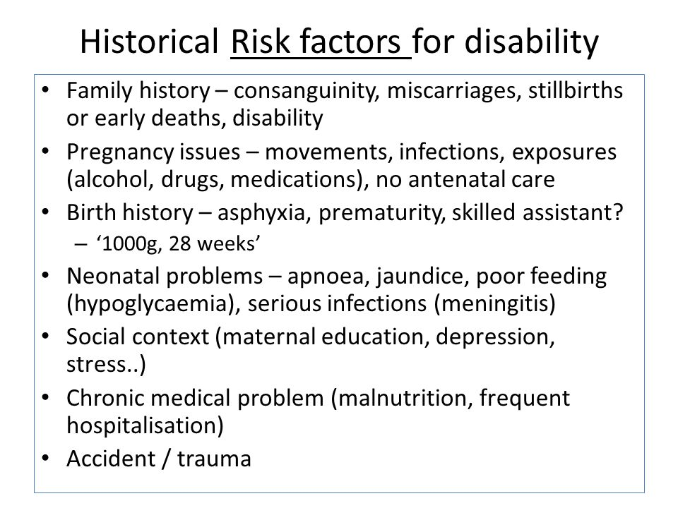 Historical Risk factors for disability