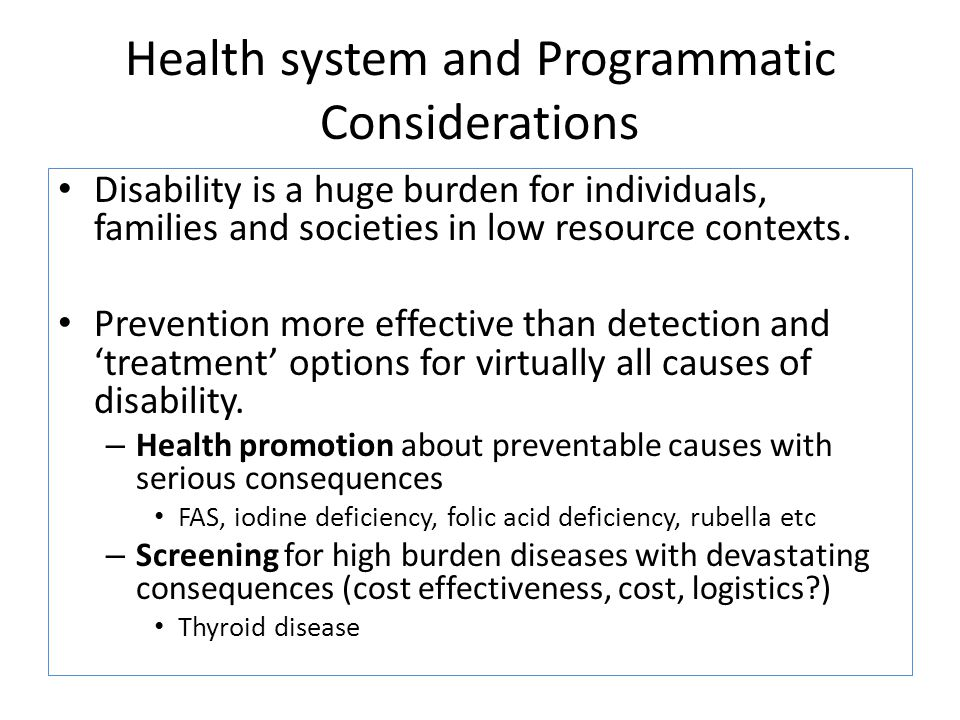 Health system and Programmatic Considerations