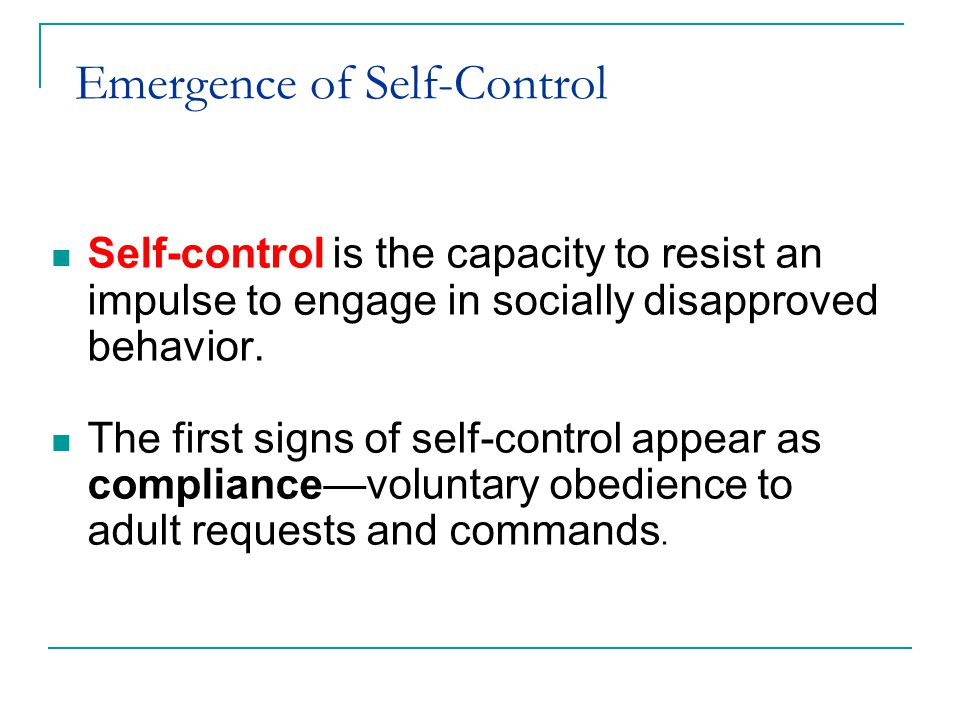 Emergence of Self-Control