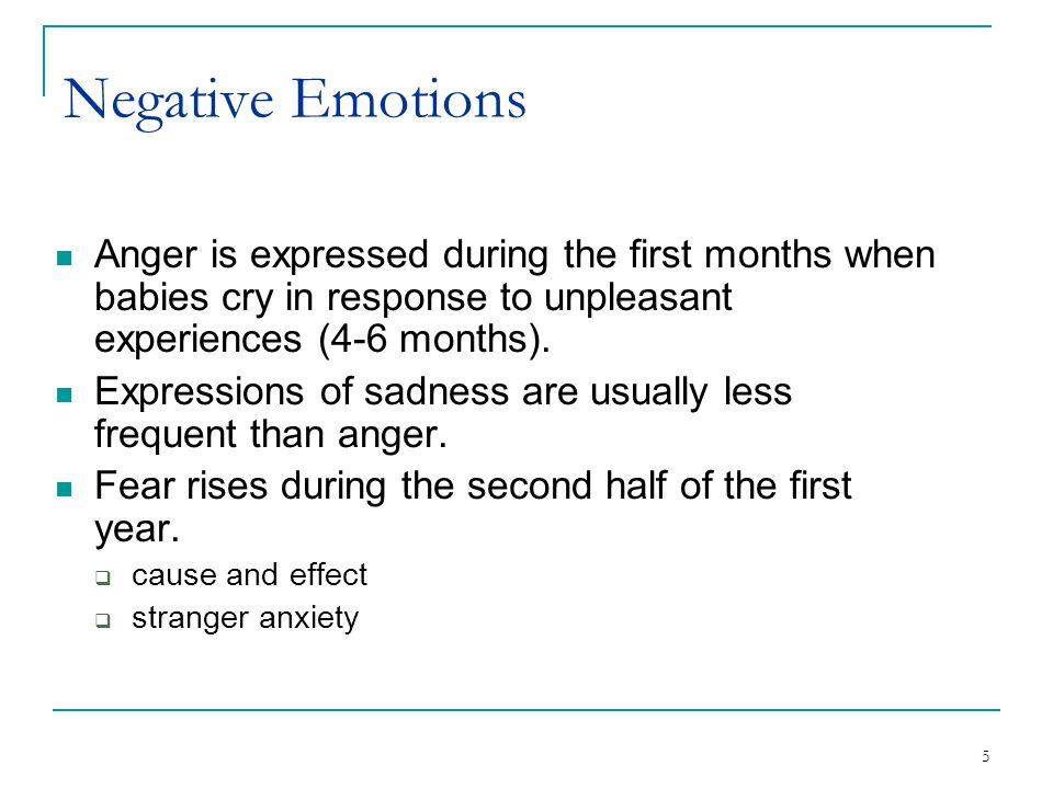 Negative Emotions Anger is expressed during the first months when babies cry in response to unpleasant experiences (4-6 months).