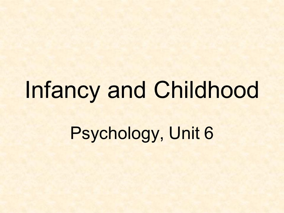 Infancy and Childhood Psychology, Unit 6