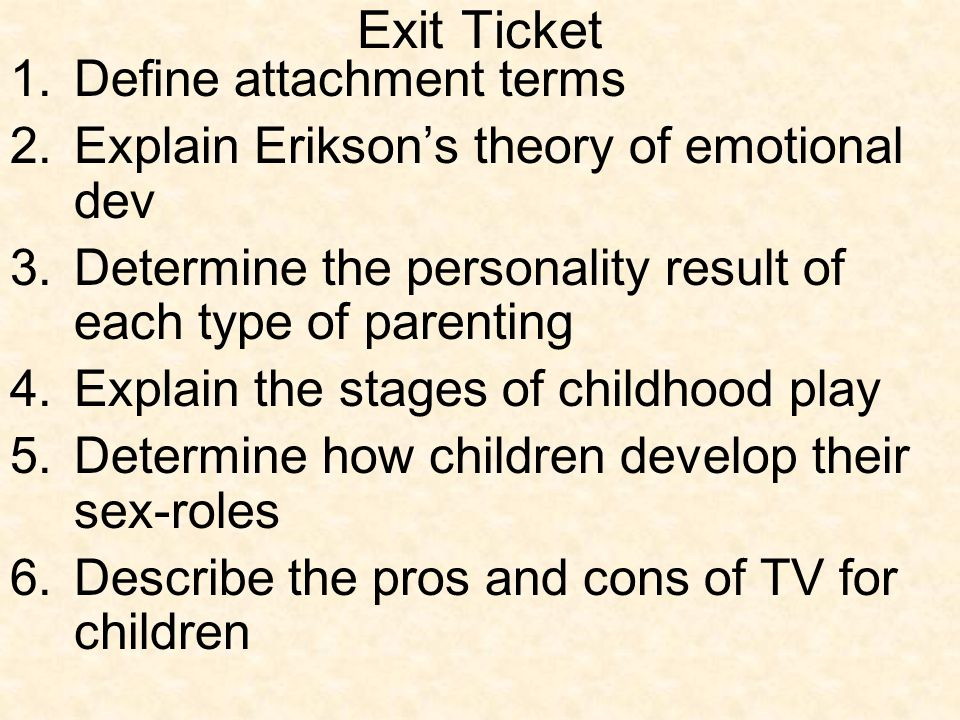 Exit Ticket Define attachment terms