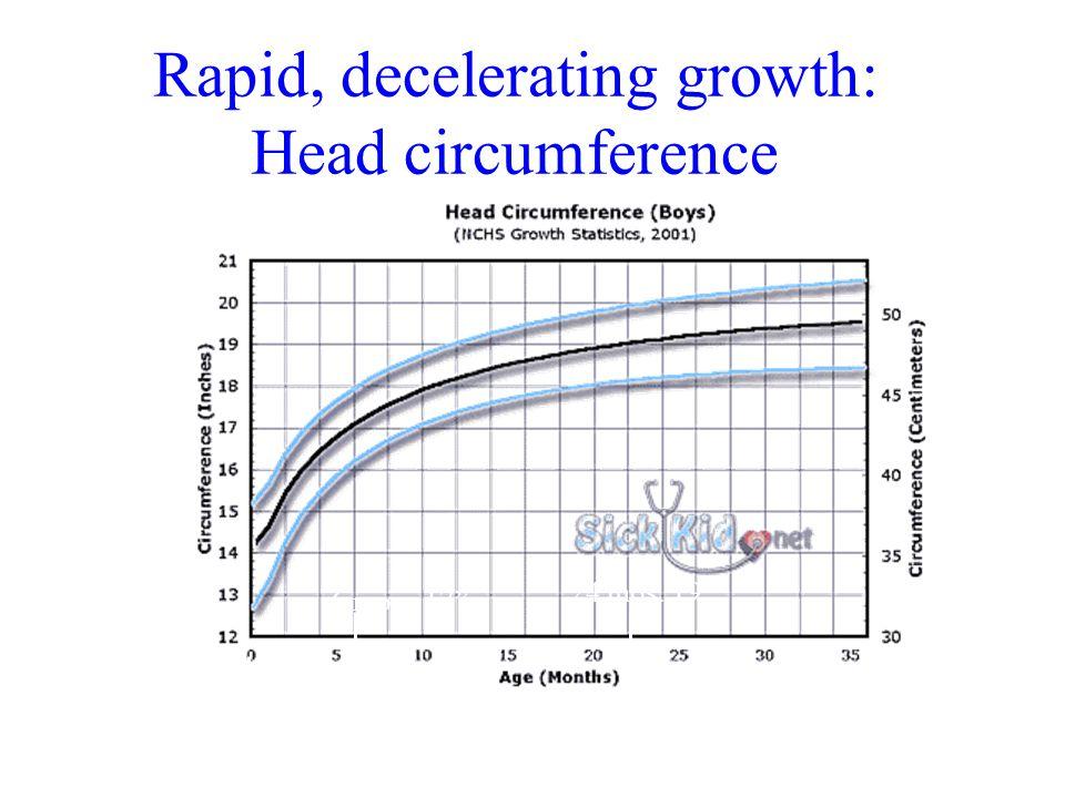 Rapid, decelerating growth: Head circumference