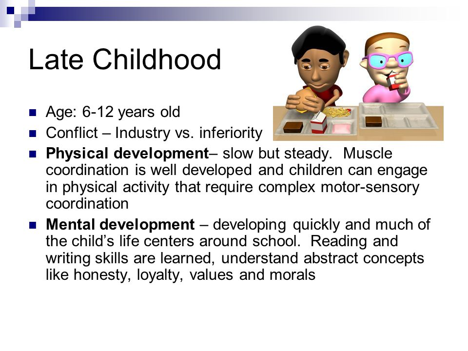 Late Childhood Age: 6-12 years old Conflict – Industry vs. inferiority
