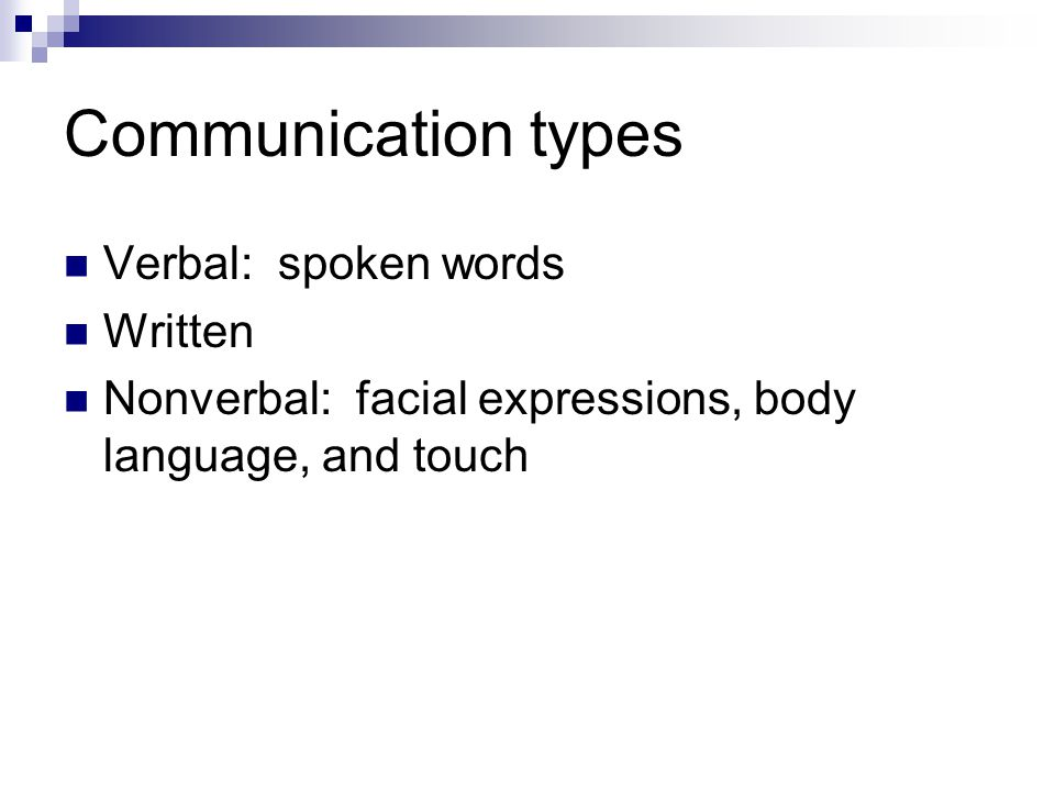 Communication types Verbal: spoken words Written