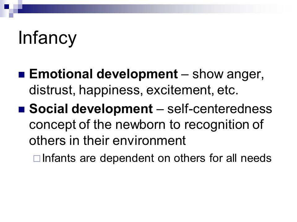 Infancy Emotional development – show anger, distrust, happiness, excitement, etc.