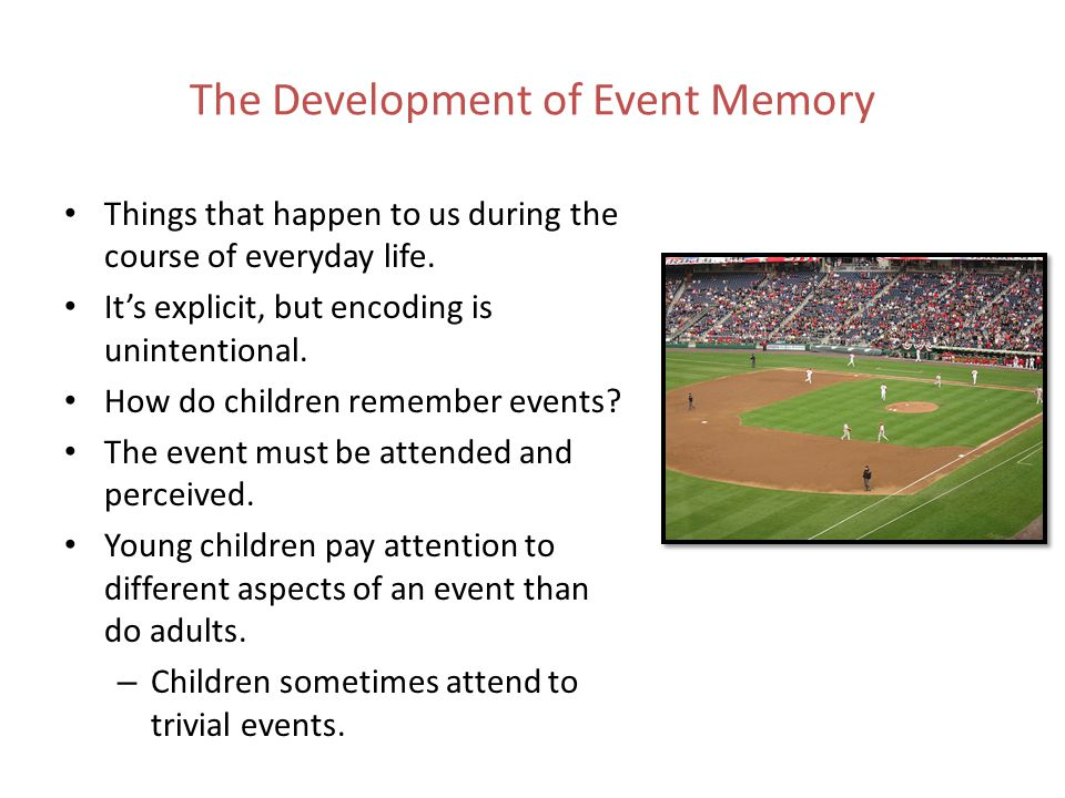 The Development of Event Memory