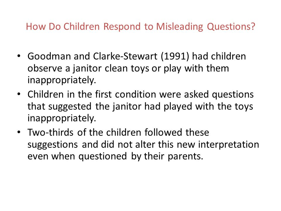 How Do Children Respond to Misleading Questions