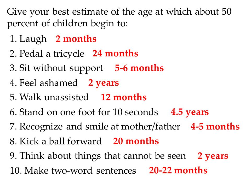Give your best estimate of the age at which about 50