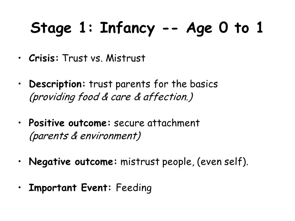 Stage 1: Infancy -- Age 0 to 1